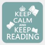 Mantenga tranquilo y guarde el leer calcomanías cuadradass personalizadas