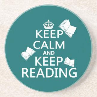 Mantenga tranquilo y guarde el leer posavasos diseño