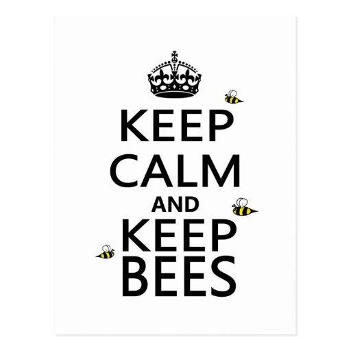 Mantenga tranquilo y guarde las abejas tarjetas postales