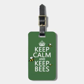 Mantenga tranquilo y guarde las abejas - todos los etiqueta de maleta