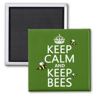Mantenga tranquilo y guarde las abejas - todos los imán cuadrado