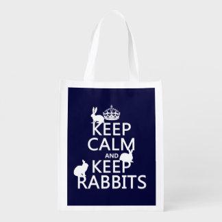 Mantenga tranquilo y guarde los conejos - todos bolsas reutilizables