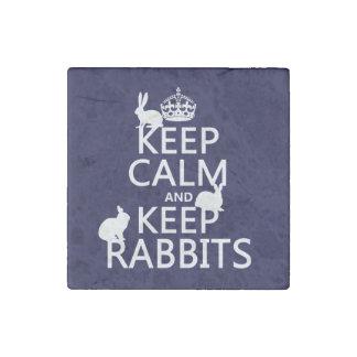 Mantenga tranquilo y guarde los conejos - todos imán de piedra
