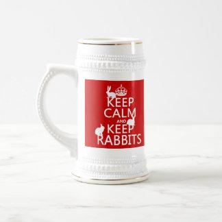 Mantenga tranquilo y guarde los conejos - todos jarra de cerveza