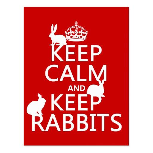Mantenga tranquilo y guarde los conejos - todos tarjetas postales