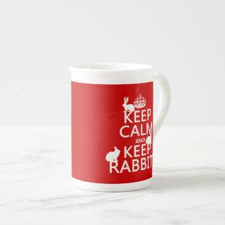 Mantenga tranquilo y guarde los conejos - todos taza de porcelana