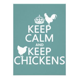 Mantenga tranquilo y guarde los pollos (cualquier  anuncio personalizado