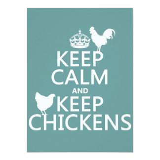 """Mantenga tranquilo y guarde los pollos (cualquier invitación 5.5"""" x 7.5"""""""