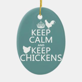 Mantenga tranquilo y guarde los pollos cualquier ornamento para arbol de navidad