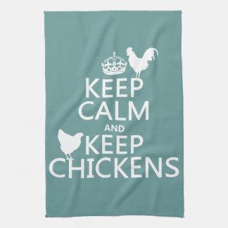 Mantenga tranquilo y guarde los pollos (cualquier  toalla de cocina