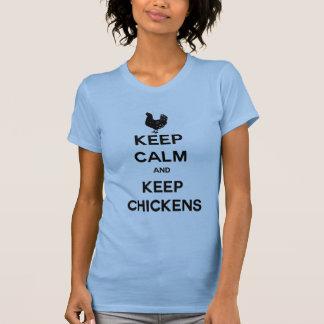 Mantenga tranquilo y guarde los pollos playera