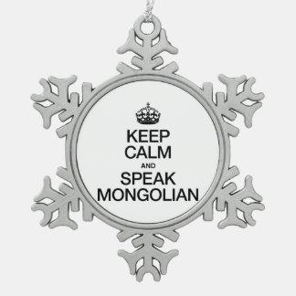 MANTENGA TRANQUILO Y HABLE MONGOLIAN ADORNO DE PELTRE EN FORMA DE COPO DE NIEVE