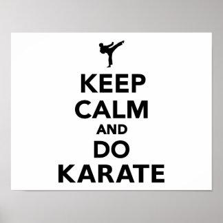 Mantenga tranquilo y haga el karate poster