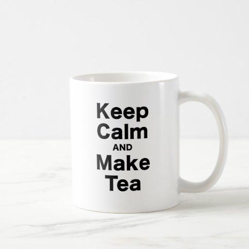 Mantenga tranquilo y haga el té taza básica blanca