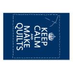 Mantenga tranquilo y haga los edredones (todos los plantillas de tarjeta de negocio