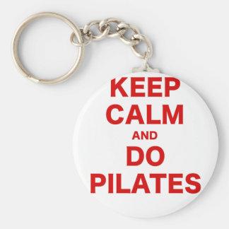 Mantenga tranquilo y haga Pilates Llavero Redondo Tipo Pin