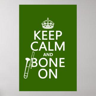 Mantenga tranquilo y 'hueso en (trombone - cualqui posters