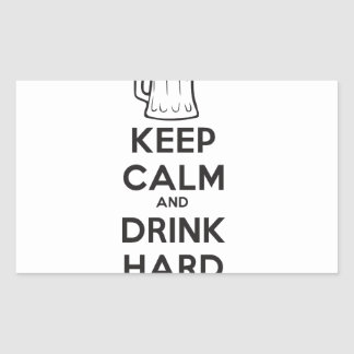mantenga tranquilo y la bebida hard.ai pegatina rectangular