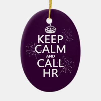 Mantenga tranquilo y la llamada hora (cualquier adorno navideño ovalado de cerámica