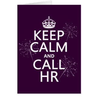 Mantenga tranquilo y la llamada hora (cualquier co tarjeta de felicitación