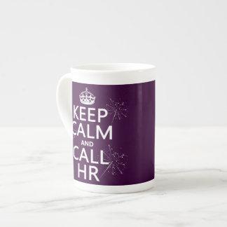 Mantenga tranquilo y la llamada hora (cualquier co taza de porcelana