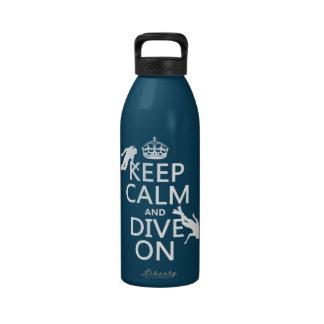 Mantenga tranquilo y la zambullida del equipo de botellas de agua reutilizables