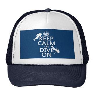 Mantenga tranquilo y la zambullida del equipo de gorras de camionero