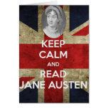 Mantenga tranquilo y lea a Jane Austen Tarjeta De Felicitación