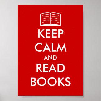 Mantenga tranquilo y lea el poster de los libros p