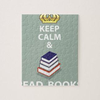 Mantenga tranquilo y lea el vector de los libros puzzle