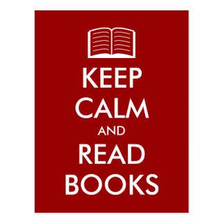 Mantenga tranquilo y lea la postal de los libros