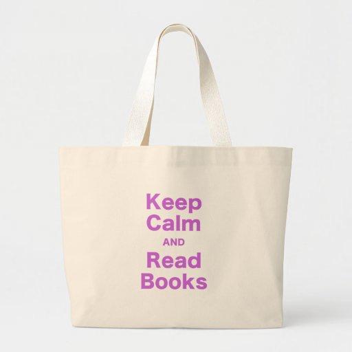 Mantenga tranquilo y lea los libros bolsas lienzo