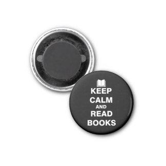 Mantenga tranquilo y lea los libros imán redondo 3 cm