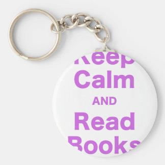 Mantenga tranquilo y lea los libros llavero personalizado