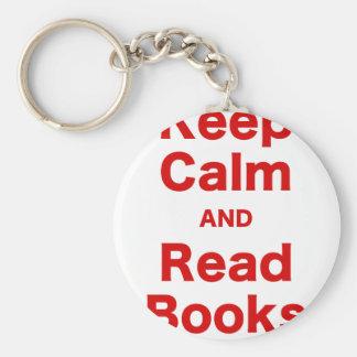 Mantenga tranquilo y lea los libros llaveros personalizados