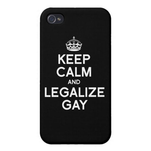 MANTENGA TRANQUILO Y LEGALICE AL GAY iPhone 4 CARCASAS