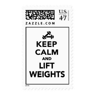 Mantenga tranquilo y levante los pesos timbre postal