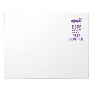 Mantenga tranquilo y llame el control de parásito libretas para notas