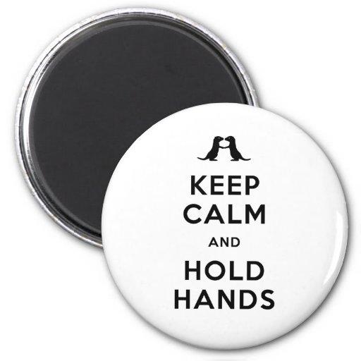Mantenga tranquilo y lleve a cabo las manos (las n imán redondo 5 cm