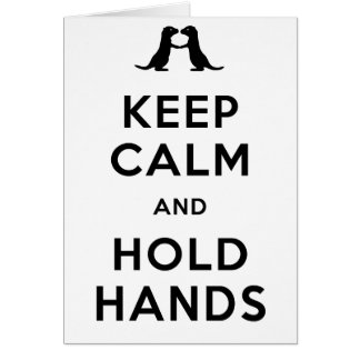 Mantenga tranquilo y lleve a cabo las manos (las n tarjeta de felicitación