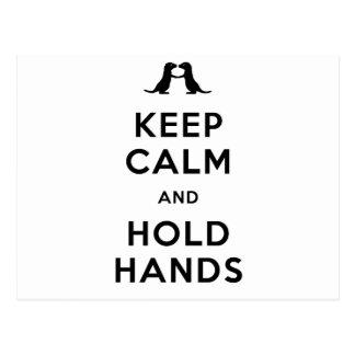 Mantenga tranquilo y lleve a cabo las manos (las postal
