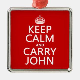 Mantenga tranquilo y lleve a Juan (cualquier Adorno Navideño Cuadrado De Metal