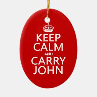 Mantenga tranquilo y lleve a Juan (cualquier Adorno Navideño Ovalado De Cerámica