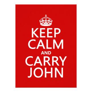 Mantenga tranquilo y lleve a Juan cualquier color Comunicado