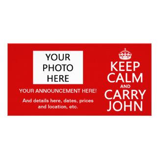 Mantenga tranquilo y lleve a Juan cualquier color Plantilla Para Tarjeta De Foto
