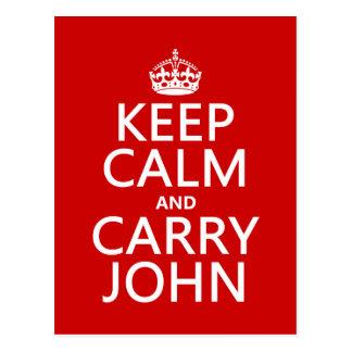 Mantenga tranquilo y lleve a Juan cualquier color Tarjetas Postales