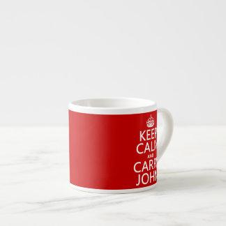 Mantenga tranquilo y lleve a Juan (cualquier color Taza Espresso