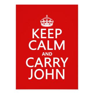 """Mantenga tranquilo y lleve a Juan (cualquier Invitación 5.5"""" X 7.5"""""""