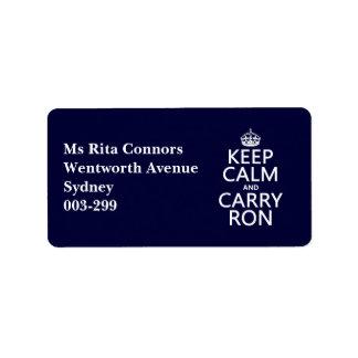 Mantenga tranquilo y lleve a Ron (modifique los co Etiqueta De Dirección