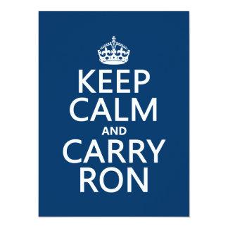 """Mantenga tranquilo y lleve a Ron (modifique los Invitación 5.5"""" X 7.5"""""""